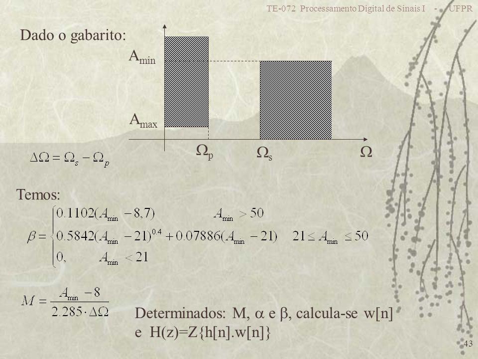 Determinados: M,  e , calcula-se w[n] e H(z)=Z{h[n].w[n]}